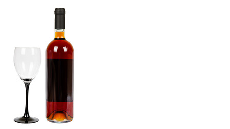 closed bottle of wine, alcohol and addiction concept. Isolated on white background. Copy space