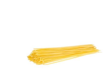 italian home made yellow pasta, home cooking concept. Isolated on white background. Copy space