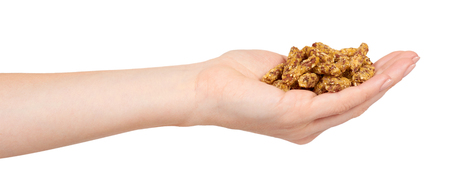Hand with home made granola, healthy food, sweet snack. Isolated on white background.