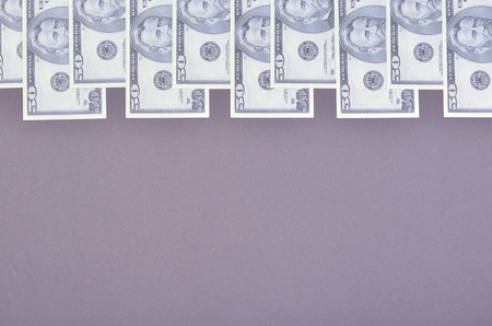 US dollars composition, minimal background. Flat lay and top view photo Stock Photo