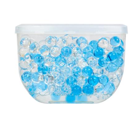 Blue gel fragrance air freshener, bathroom deodorant. Isolated on white background
