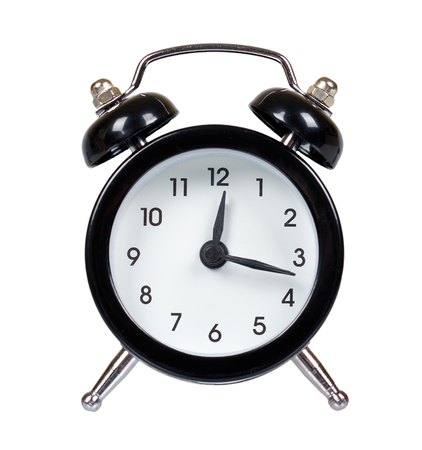 Black retro alarm clock, classic watches with bells. Isolated on white background Stock Photo
