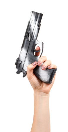 Hand with black gun, side view pistol, crime and military concept. Isolated on white background