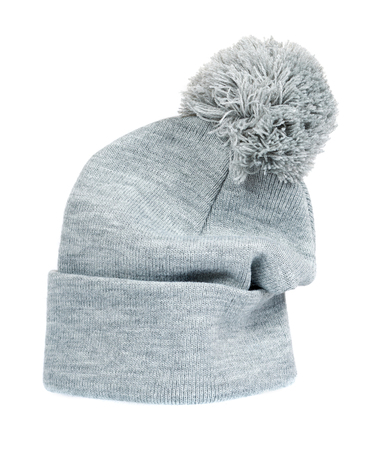 Gray knitted hat, warm woolen accessory. Isolated on white background Stock Photo