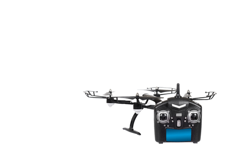Remote control drone, fun toy for kids, air sport game. Isolated on white background. Copy space template Stock Photo