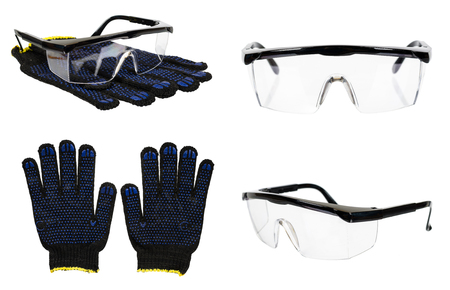 Protective gloves and glasses, set and collection. Isolated on white background