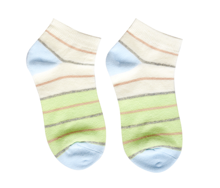 Striped cotton sock, child footwear. Isolated on white background