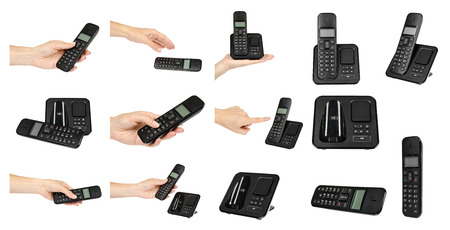 Hand with black office phone, set and collection. Isolated on white background Фото со стока