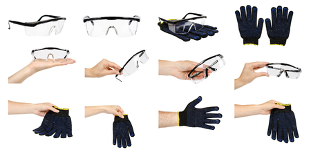 Hand with protective gloves and glasses, set and collection. Isolated on white background