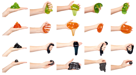 Hand with slime toy for kids, fun and education, set and collection. Isolated on white background