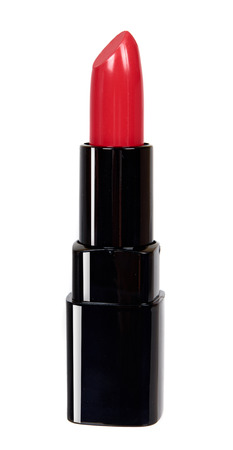 Red lipstick in black tube, beauty and care. Isolated on white background 스톡 콘텐츠