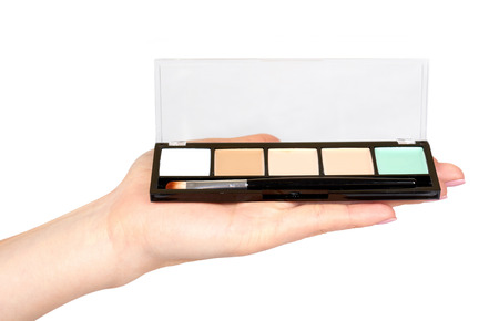 Hand with color palette, eye makeup brush. Isolated on white background