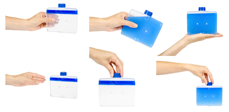 Hand with detergent for clean dishwasher machine, set and collection. Isolated on white background
