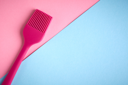Silicone brush for prepare food, flat lay composition and top view photo 스톡 콘텐츠