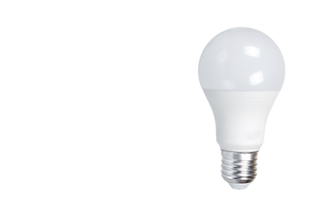 LED bulb, eco friendly lamp, modern equipment. Isolated on white background. Copy space template