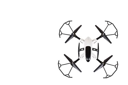 Remote control drone, fun toy for kids, air sport game. Isolated on white background. Copy space template