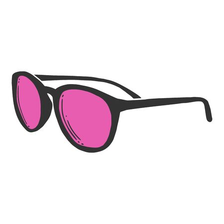Fashion sunglasses. Vector concept in doodle and sketch style. Hand drawn illustration for printing on T-shirts, postcards.  イラスト・ベクター素材