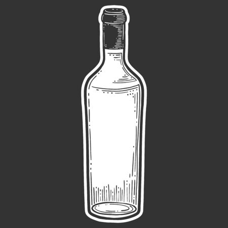 Wine bottle, glass. Vector in doodle and sketch style. Isolated on dark background