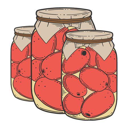 Conserves de tomates en conserve. Concept de vecteur dans le style doodle et croquis. Illustration dessinée à la main pour l'impression sur des T-shirts, des cartes postales. Vecteurs