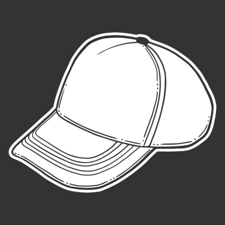 Baseball cap, trucker hat. Vector concept in doodle and sketch style. Hand drawn illustration for printing on T-shirts, postcards.