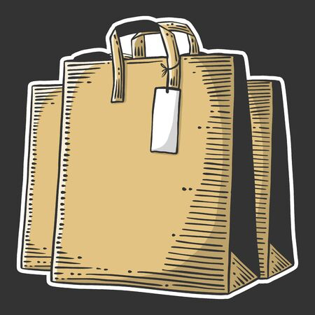 Paper bag for shopping or presents. Vector concept in doodle and sketch style. Hand drawn illustration for printing on T-shirts, postcards. Illustration