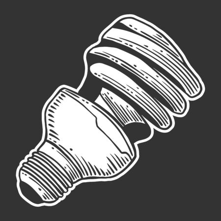 Mercury light bulb. Vector concept in doodle and sketch style. Hand drawn illustration for printing on T-shirts, postcards.