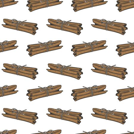 Cinnamon sticks. Vector concept in doodle and sketch style. Hand drawn illustration for printing on T-shirts, postcards. Seamless pattern for textile, paper wrap.