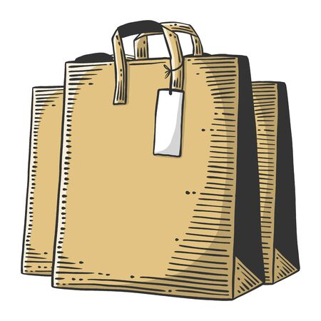 Paper bag for shopping or presents. Vector concept in doodle and sketch style.