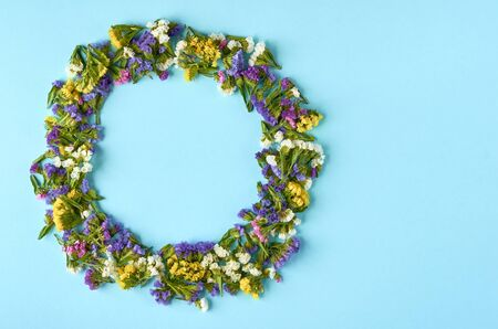 Colored flowers on blue background composition, circle shape. Flat lay and top view photo