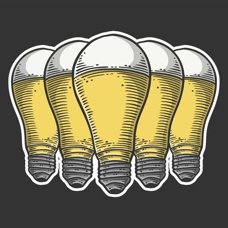 LED light bulb. Vector concept in doodle and sketch style. Hand drawn illustration for printing on T-shirts, postcards.  イラスト・ベクター素材