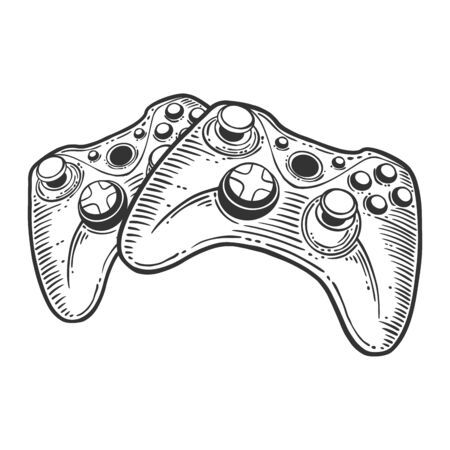 Gamepad. Vector concept in doodle and sketch style. Hand drawn illustration for printing on T-shirts