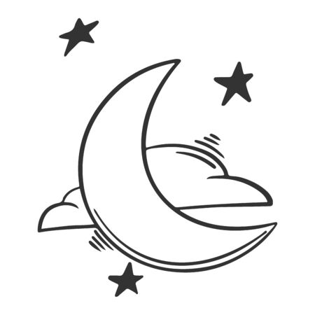 Moon with clouds and stars. Vector concept in doodle and sketch style. Hand drawn illustration  イラスト・ベクター素材
