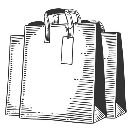 Paper bag for shopping or presents. Vector concept in doodle and sketch style. Hand drawn illustration for printing on T-shirts, postcards. Icon and logo idea.  イラスト・ベクター素材