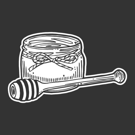 Honey in pot with wooden spoon. Vector concept in doodle and sketch style.  イラスト・ベクター素材