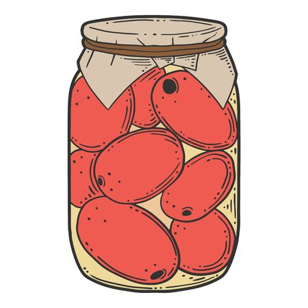 Canned tomatoes preserve. Vector concept in doodle and sketch style. Hand drawn illustration for printing on T-shirts, postcards. Çizim