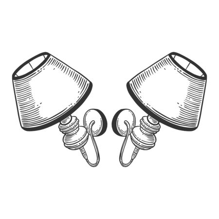 Wall lamp. Vector concept in doodle and sketch style. Hand drawn illustration  イラスト・ベクター素材