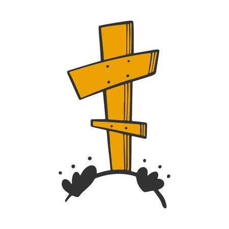 Grave with cross. Vector concept in doodle and sketch style. Hand drawn illustration