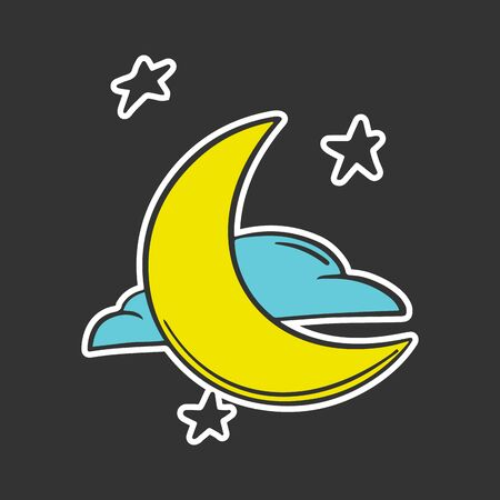 Moon with clouds and stars. Vector concept in doodle and sketch style. Hand drawn illustration for printing on T-shirts, postcards.