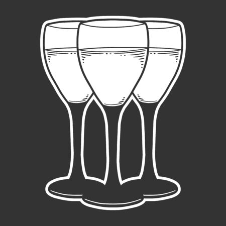 Wine glass. Vector concept in doodle and sketch style. Hand drawn illustration