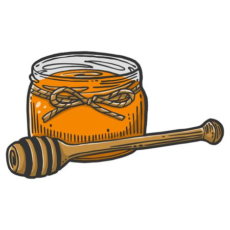 Honey in pot with wooden spoon. Vector concept in doodle and sketch style. Hand drawn illustration  イラスト・ベクター素材
