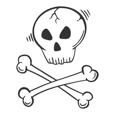 Skull with crossed bones. Vector concept in doodle and sketch style. Hand drawn illustration for printing on T-shirts, postcards. Çizim