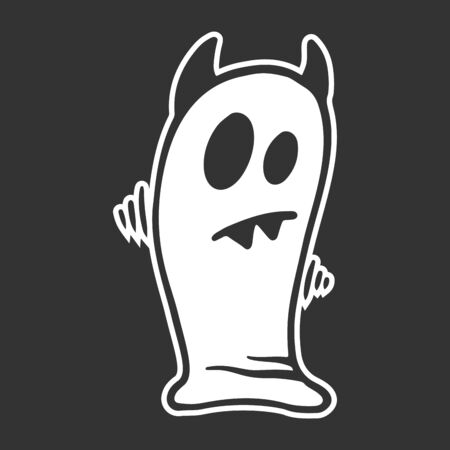 Ghost. Vector concept in doodle and sketch style. Hand drawn illustration for printing on T-shirts, postcards.