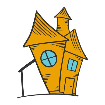 House. Vector concept in doodle and sketch style. Hand drawn illustration for printing on T-shirts, postcards.
