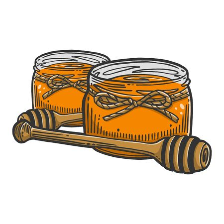 Honey in pot with wooden spoon. Vector concept in doodle and sketch style. Hand drawn illustration for printing on T-shirts, postcards. Çizim