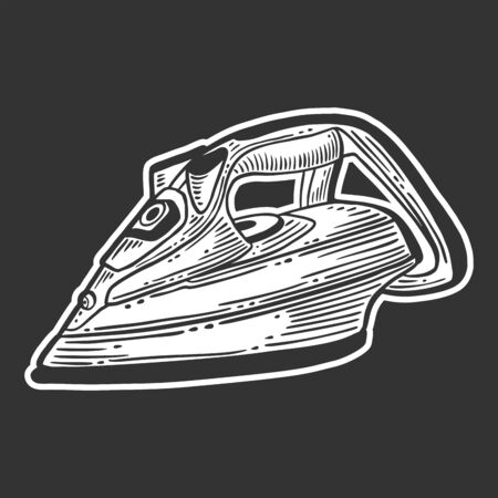 Iron. Vector concept in doodle and sketch style. Hand drawn illustration for printing on T-shirts, postcards. Çizim