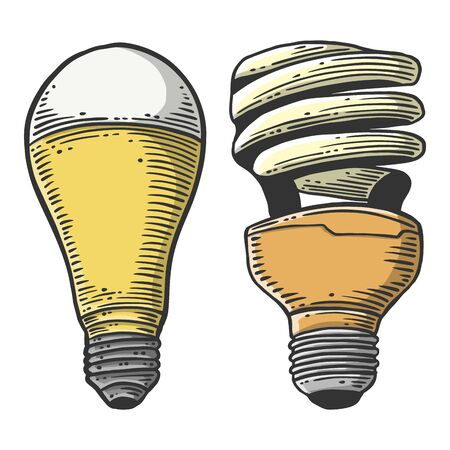 LED light bulb and mercury lamp. Vector concept in doodle and sketch style. Hand drawn illustration for printing on T-shirts, postcards.