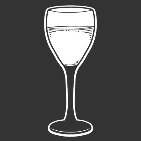 Wine glass. Vector concept in doodle and sketch style. Hand drawn illustration for printing on T-shirts, postcards.