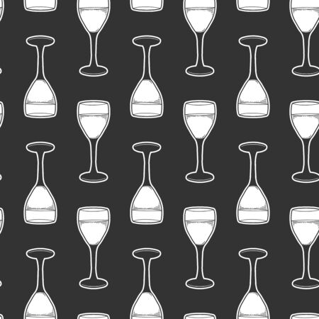 Wine glass. Vector concept in doodle and sketch style. Hand drawn illustration for printing on T-shirts, postcards. Seamless pattern for textile, paper wrap. Texture background.  イラスト・ベクター素材