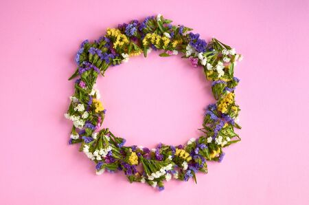 Colored flowers on pink background composition, circle shape. Flat lay and top view photo