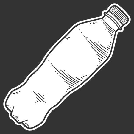 Water bottle. Vector concept in doodle and sketch style. Hand drawn illustration for printing on T-shirts, postcards. Stok Fotoğraf